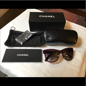 CHANEL Accessories - CHANEL New Authentic Dark Red sunglass 5380A 539S6